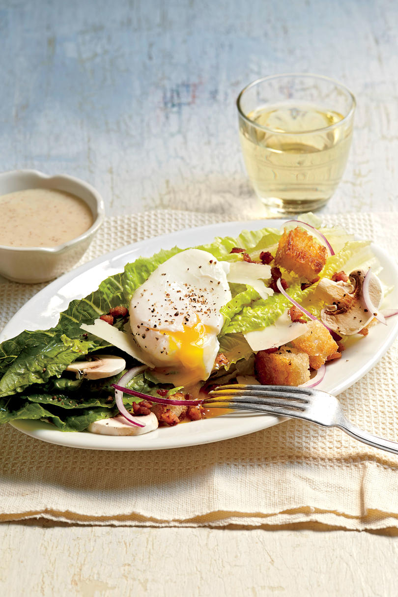 Country Ham Caesar Salad : Alison Miksch-Photographer / Vanessa Rocchio-Food Stylist / Buffy Hargett Miller -Prop Stylist