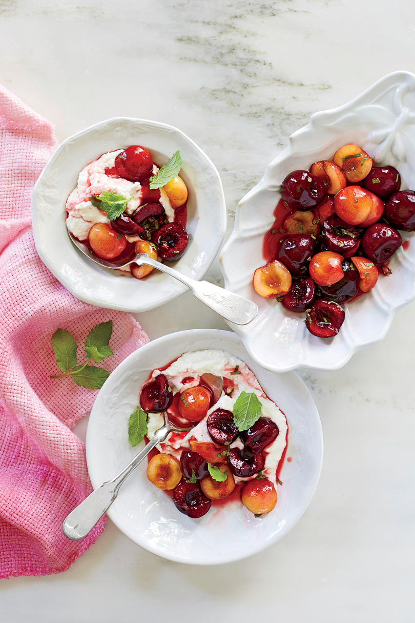 Orange-and-Basil Macerated Cherries