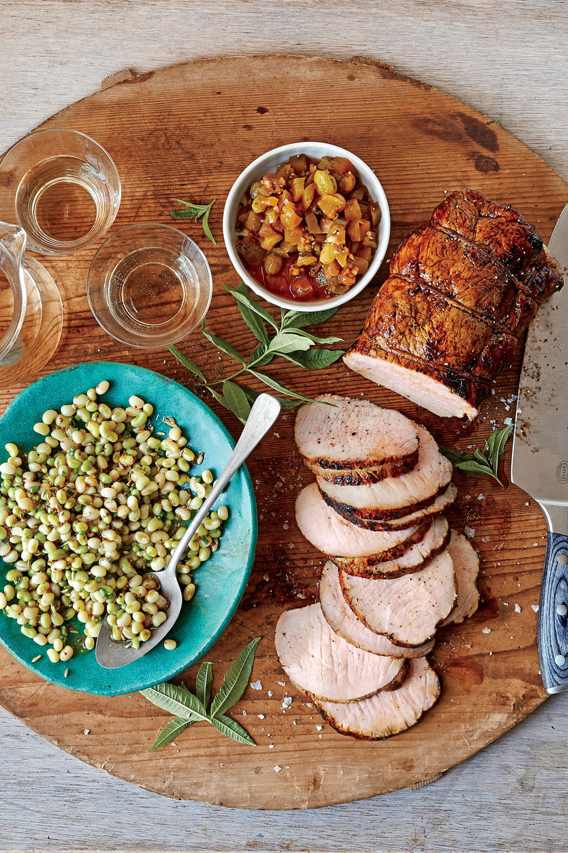 Roasted Cider-Brined Pork Loin with Green Tomato Chutney