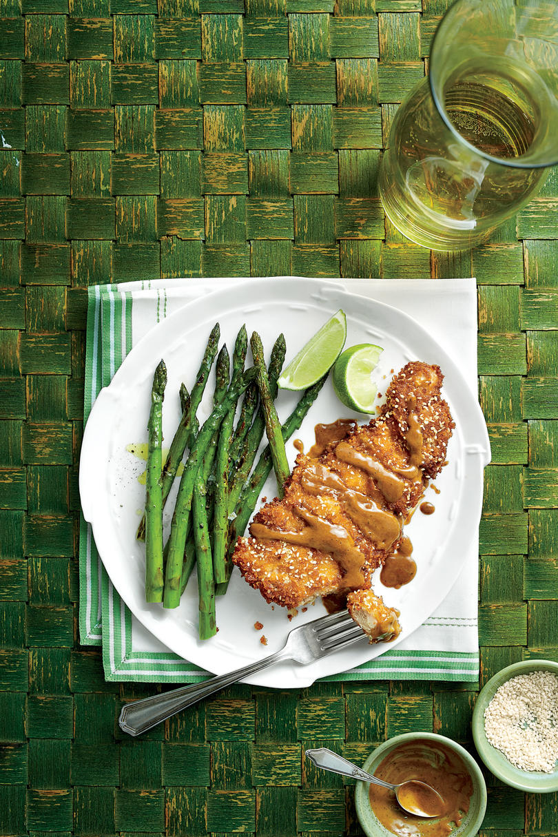 Sesame-Chicken Thigh Paillard with Peanut Sauce