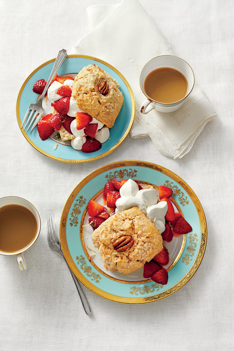 Coconut-and-Pecan Strawberry Shortcakes