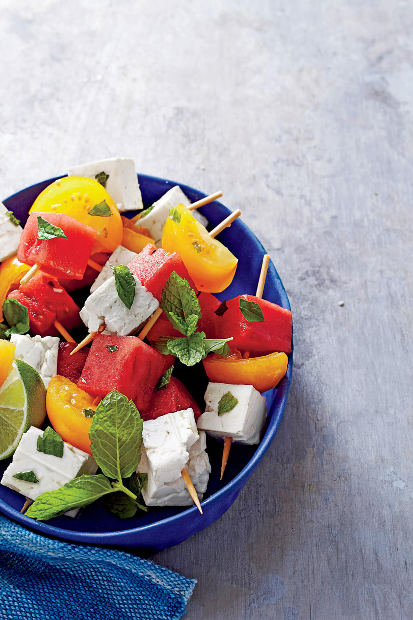 Tomato, Watermelon, and Feta Skewers with Mint and Lime