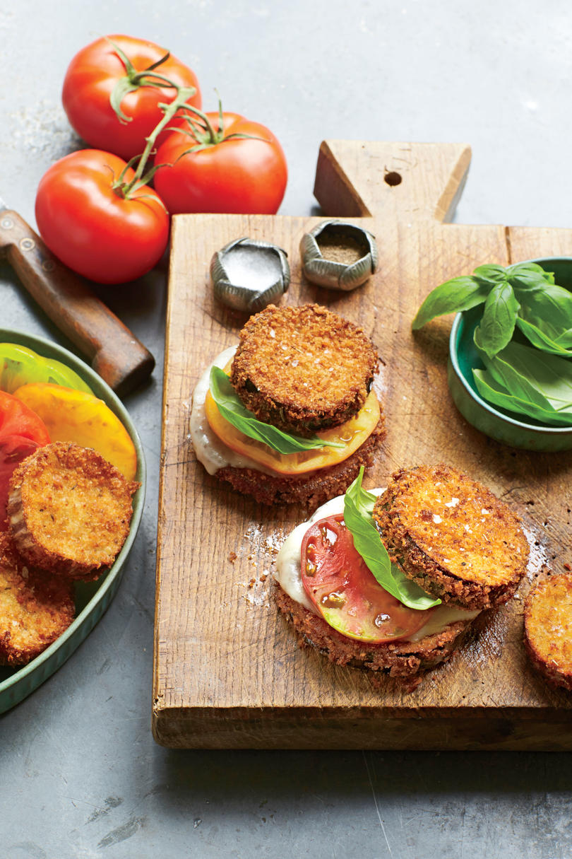 Crispy Eggplant, Tomato, and Provolone Stacks with Basil