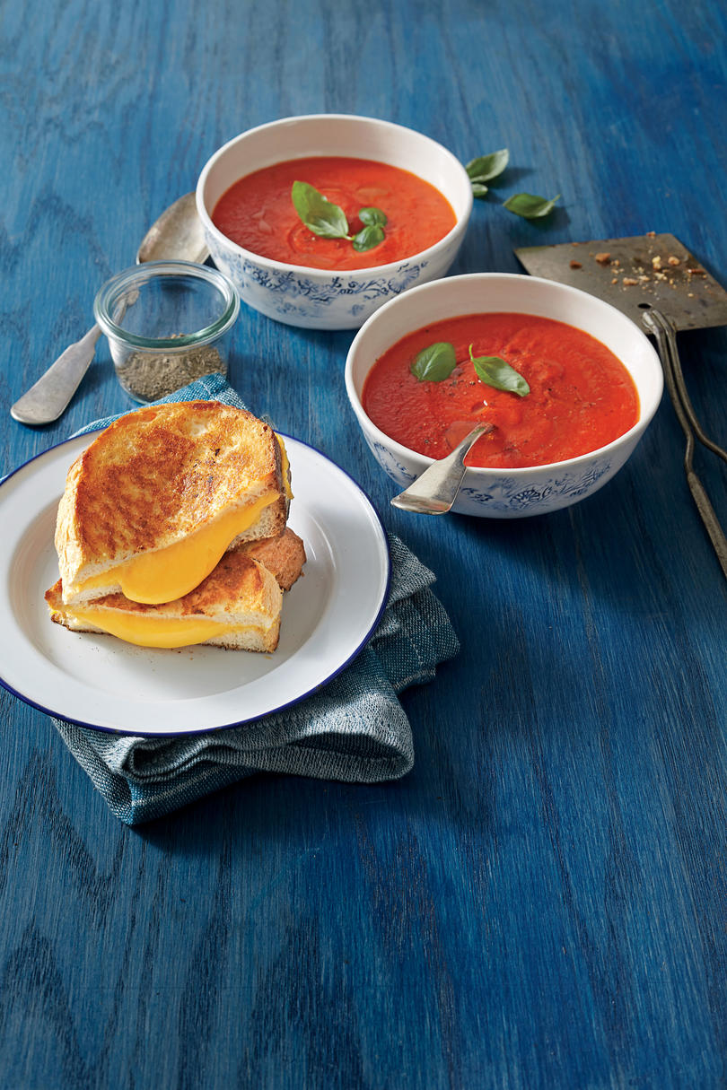 The Ultimate Grilled Cheese with Tomato-and-Red Pepper Soup