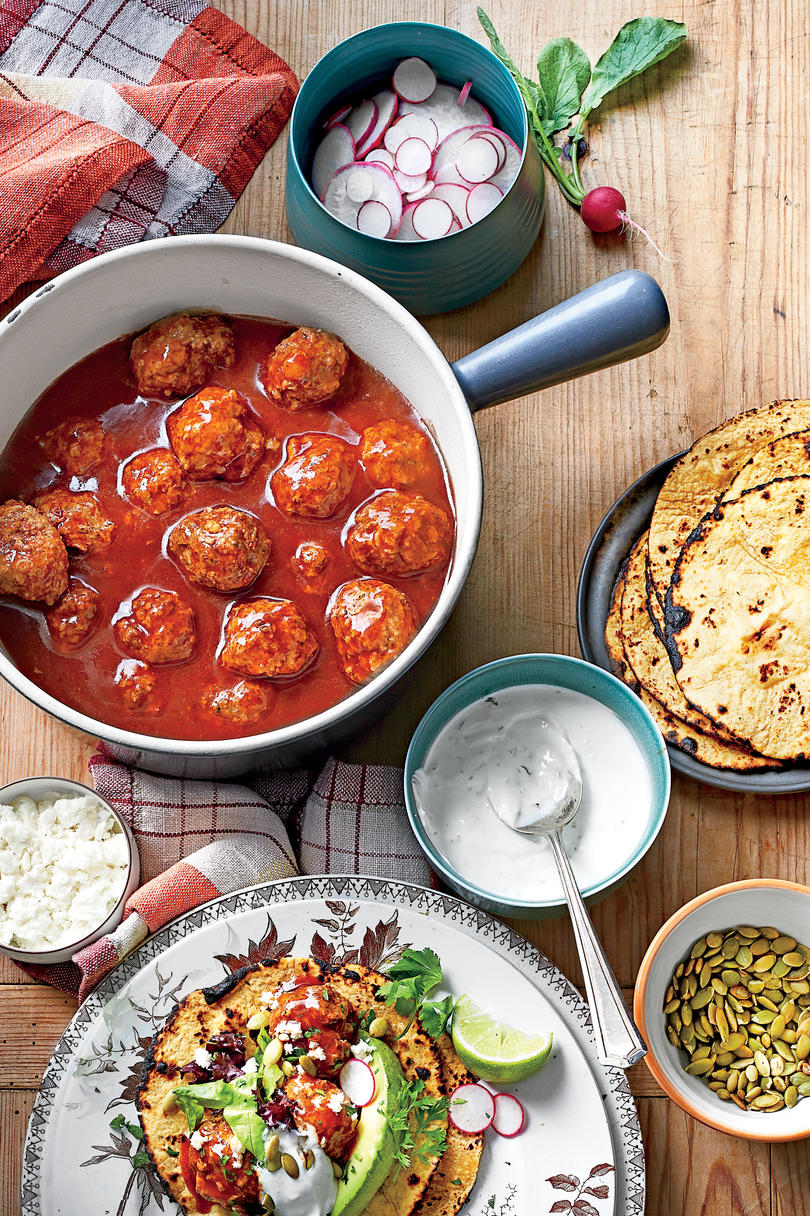 Tex-Mex Meatballs in Red Chile Sauce