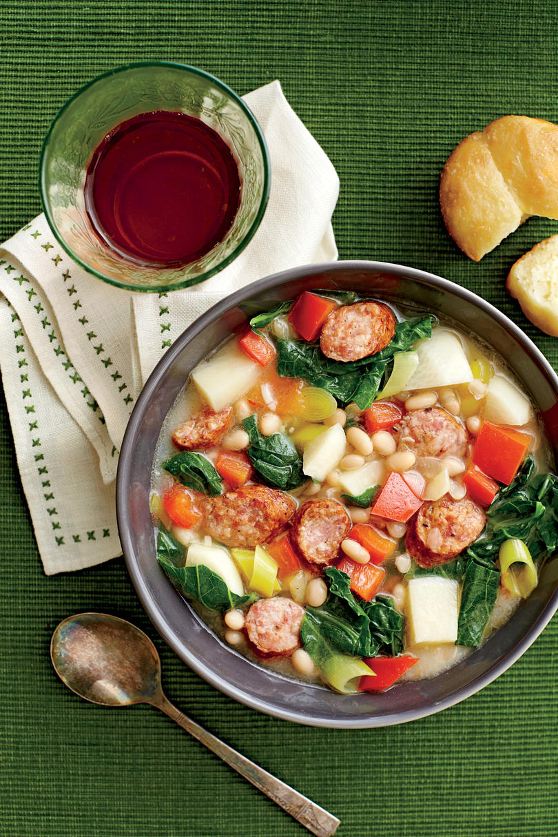 White Bean, Sausage, and Turnip Green Stew