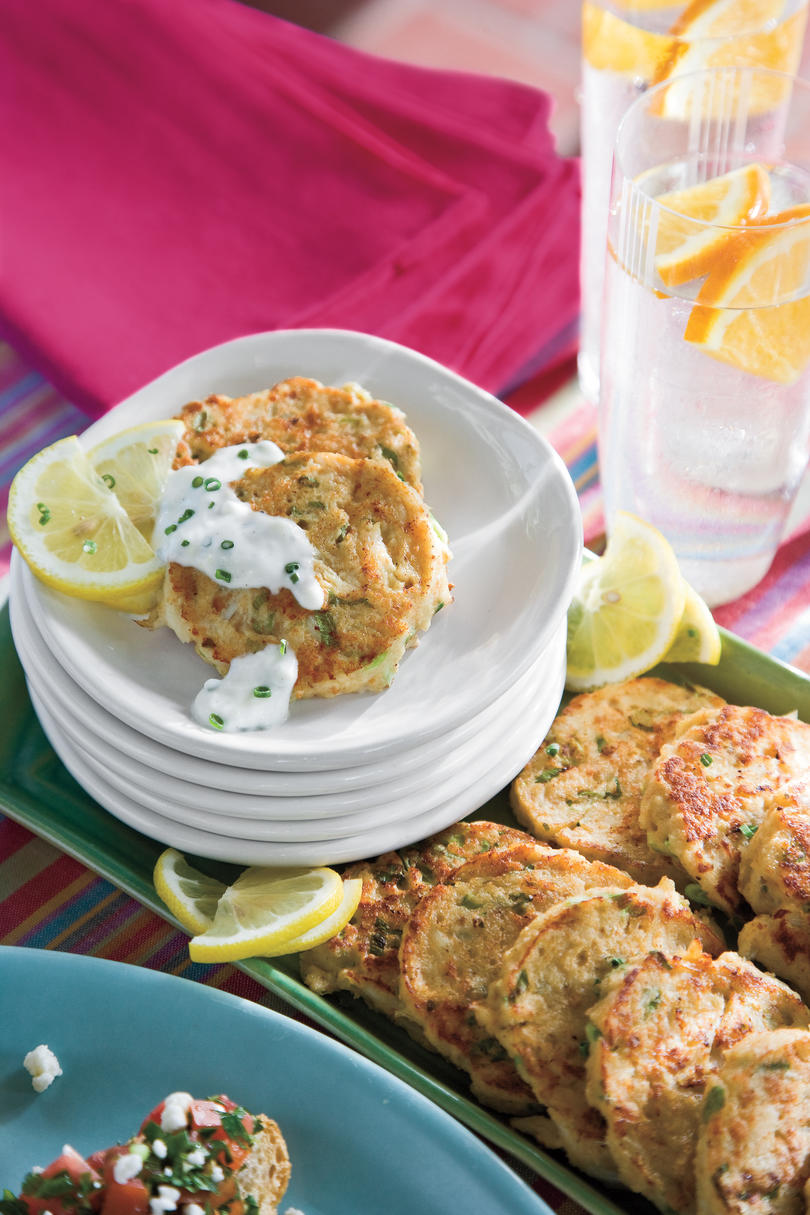 Crab Cakes with Garlic-Chive Sauce