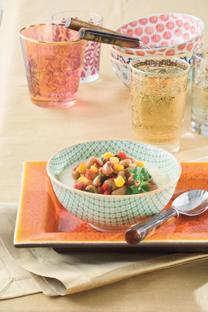 Hoppin' John Stew with White Cheddar Cheese Grits