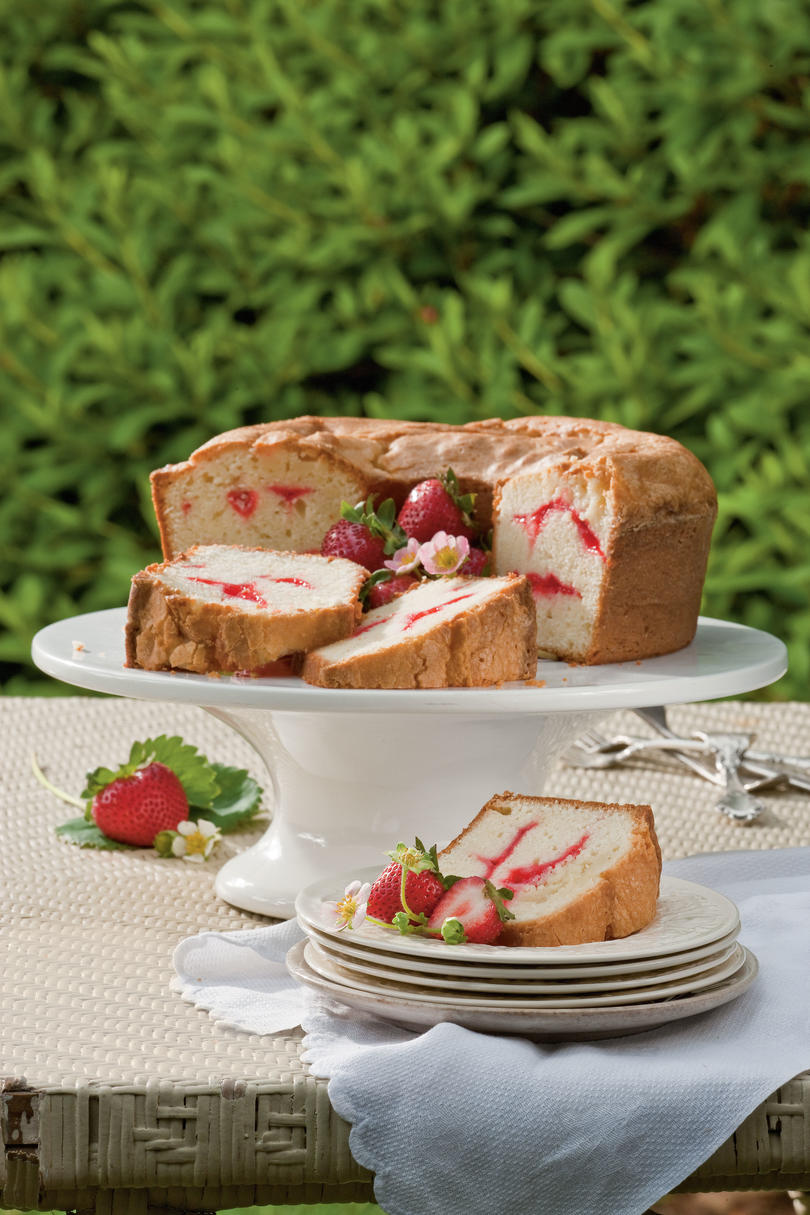 Strawberry Swirl Cream Cheese Pound Cake