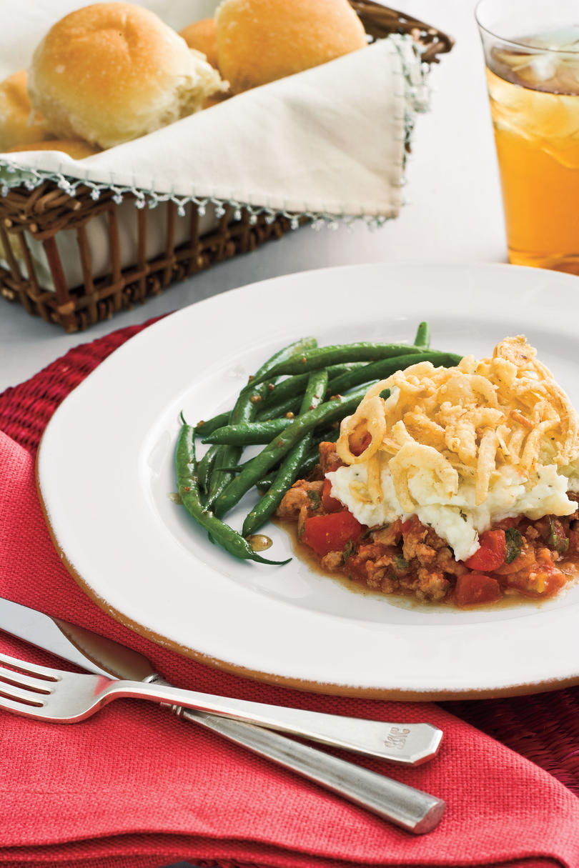 21 quick fix comforting casseroles southern living onion topped sausage n mashed potato casserole recipe forumfinder Image collections