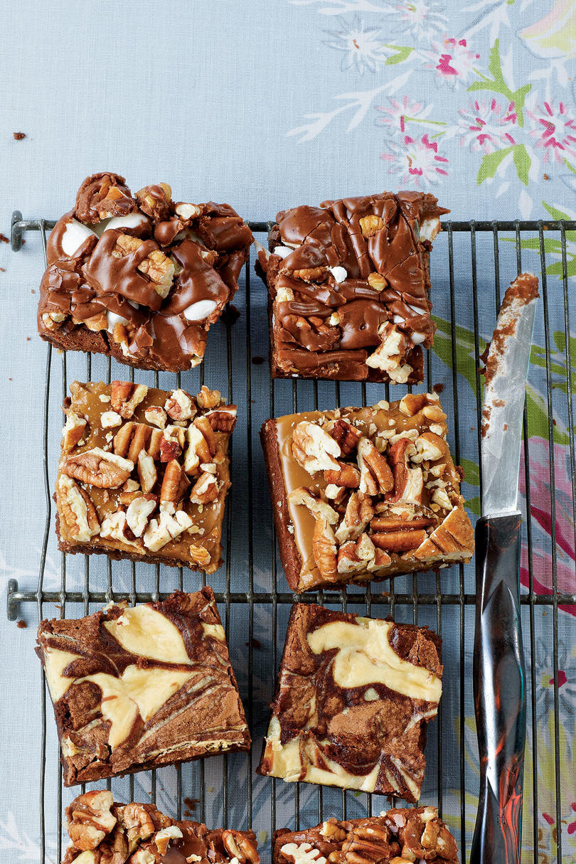 AprilMississippi Mud, Caramel-Pecan, and Marbled Brownies