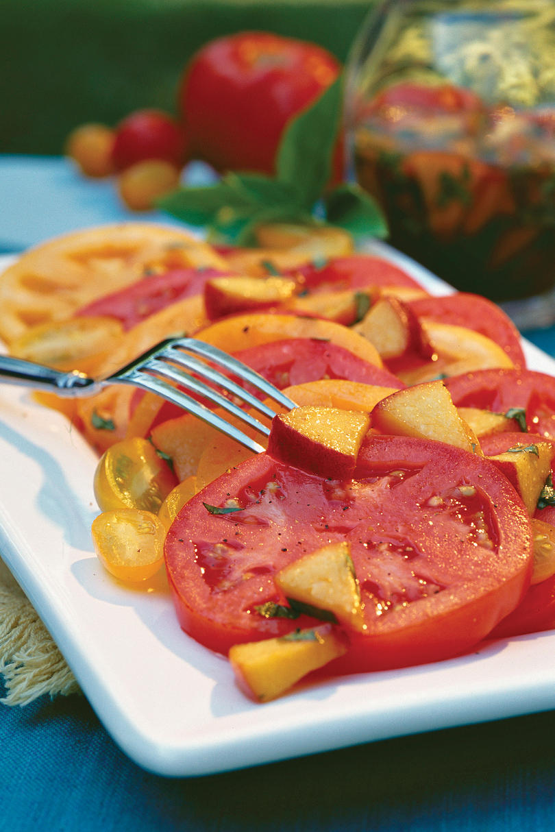Sliced Tomatoes With Fresh Peach-Basil Vinaigrette