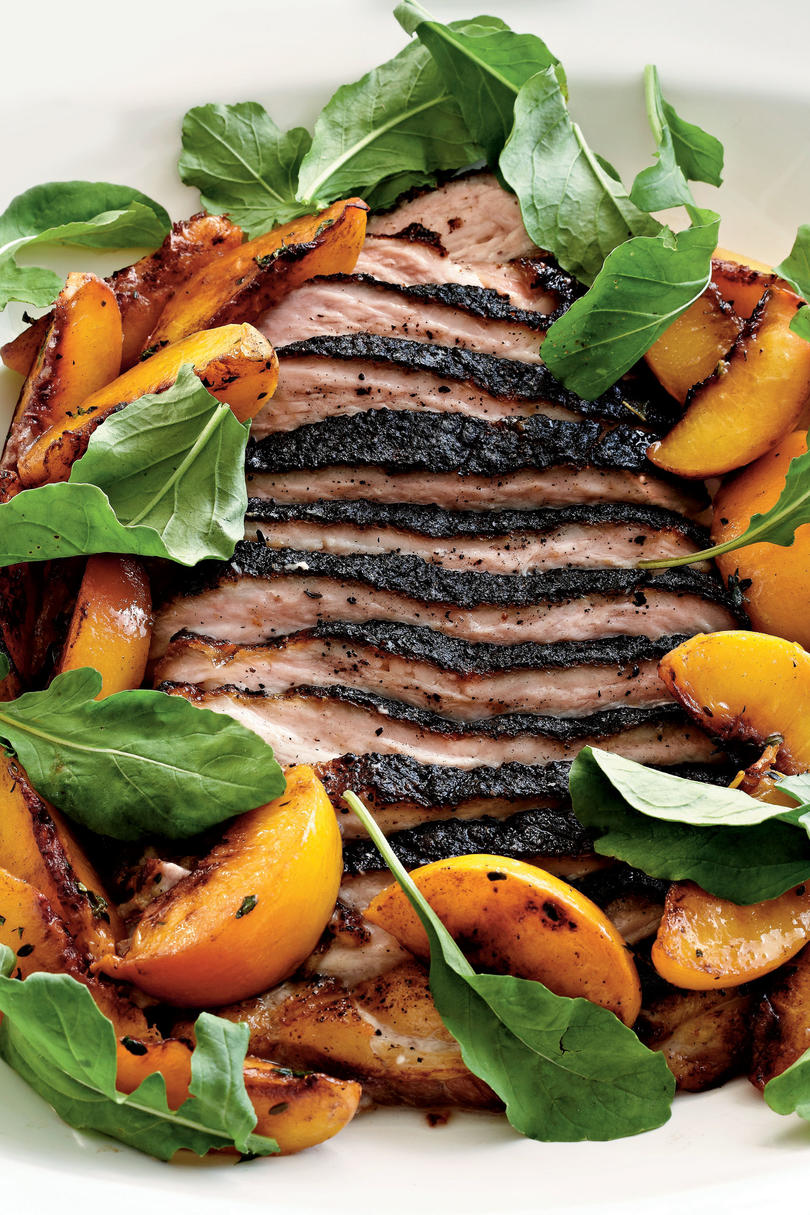Roasted Pork Belly with Late Harvest-Peaches and Arugula