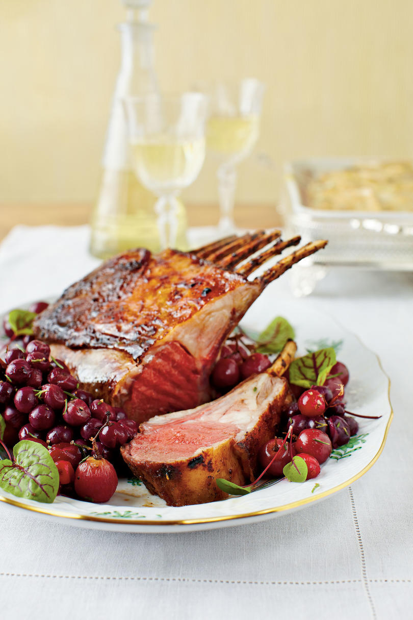 Honey-Curry Glazed Lamb with Roasted Grapes and Cranberries