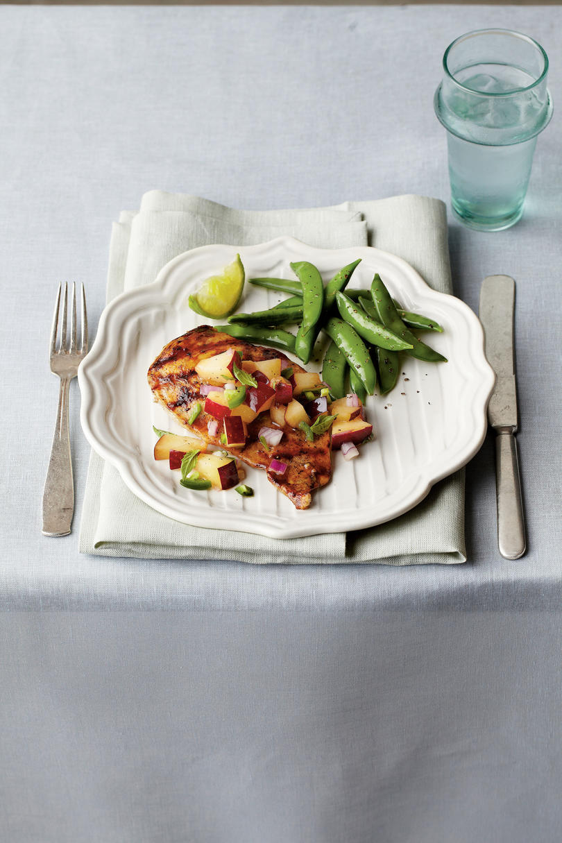 Pan-Grilled Chicken with Fresh Plum Salsa