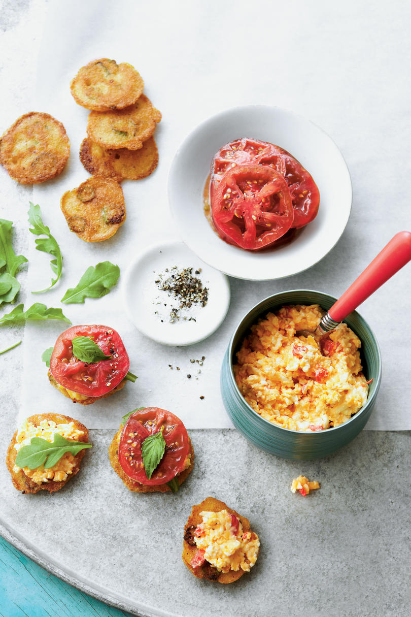 Tomato-and-Okra Cornmeal Cakes