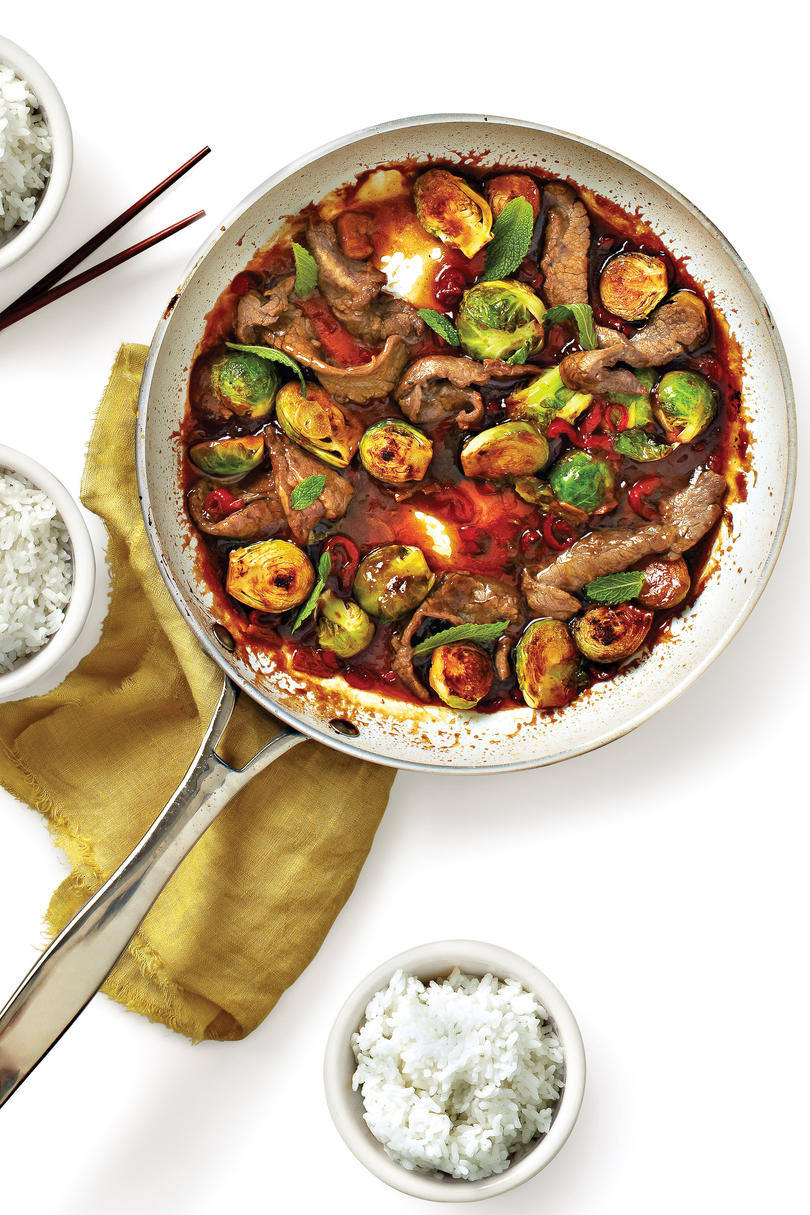 Beef-and-Brussels Sprouts Stir-Fry Recipe