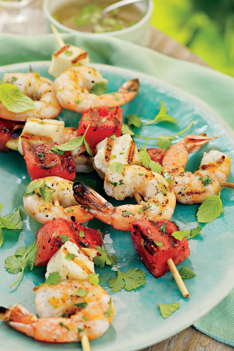 Shrimp, Watermelon, and Halloumi Kabobs