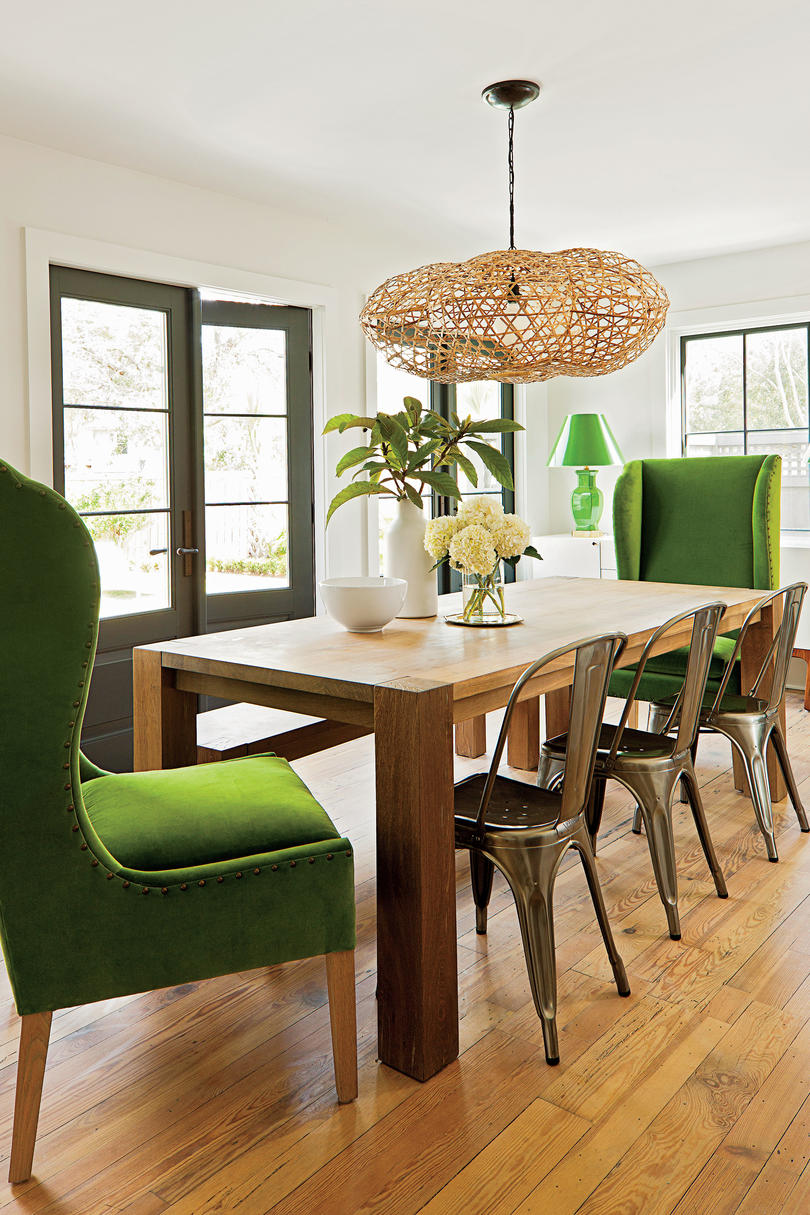 Light collaborating with wooden materials in the living dinning room - Family Friendly Dining Room