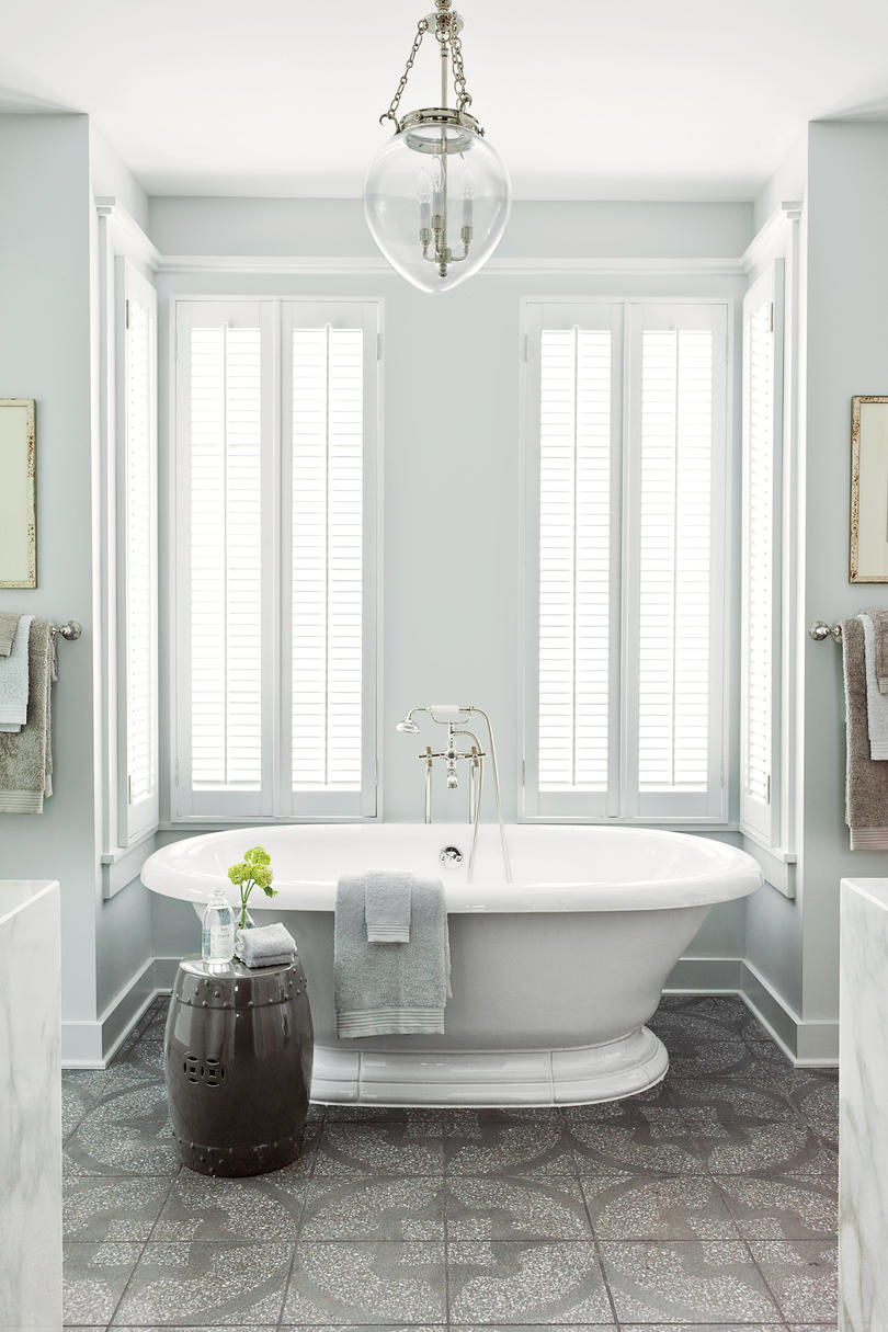pictures of gray and white bathrooms. Patterned and Complimentary White Bathrooms  Southern Living