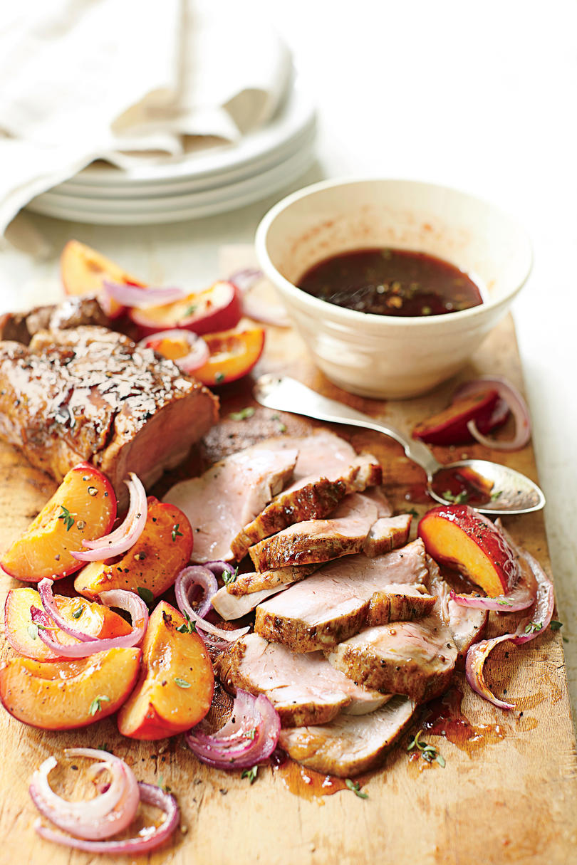 Quick and easy 5 ingredient dinner recipes southern living glazed pork with fresh plums forumfinder Image collections