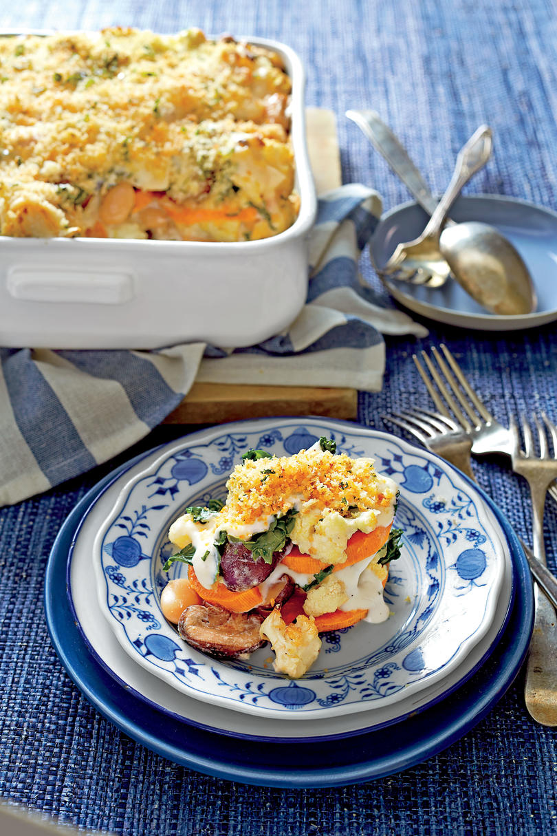 Sweet Potato, Cauliflower, and Greens Casserole