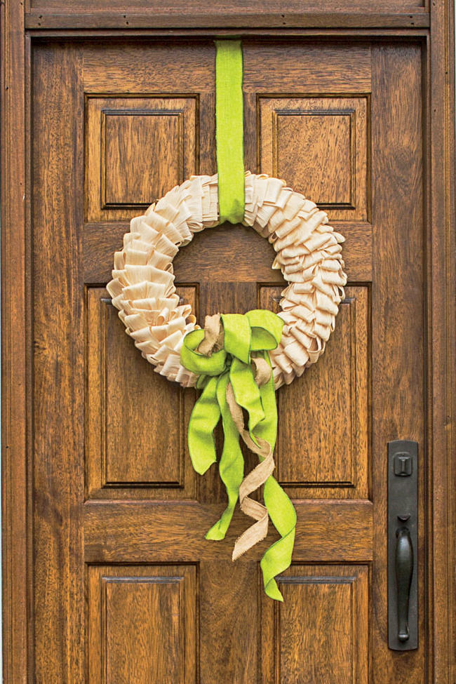 Corn Husk and Ribbon Wreath
