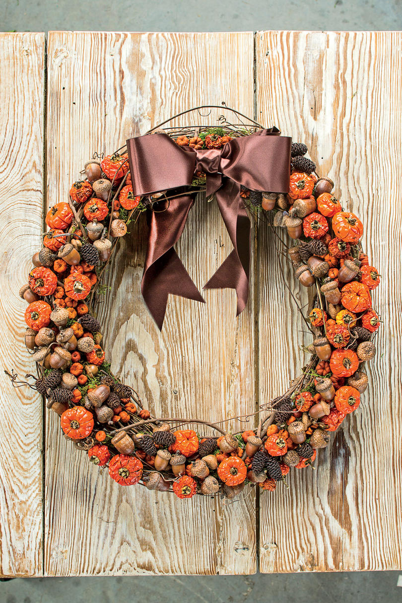 Pumpkins  and Acorns Fall Wreath