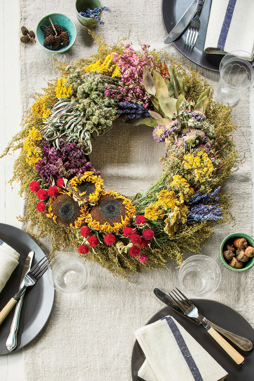 Fall Wreath with Dried Flowers and Herbs