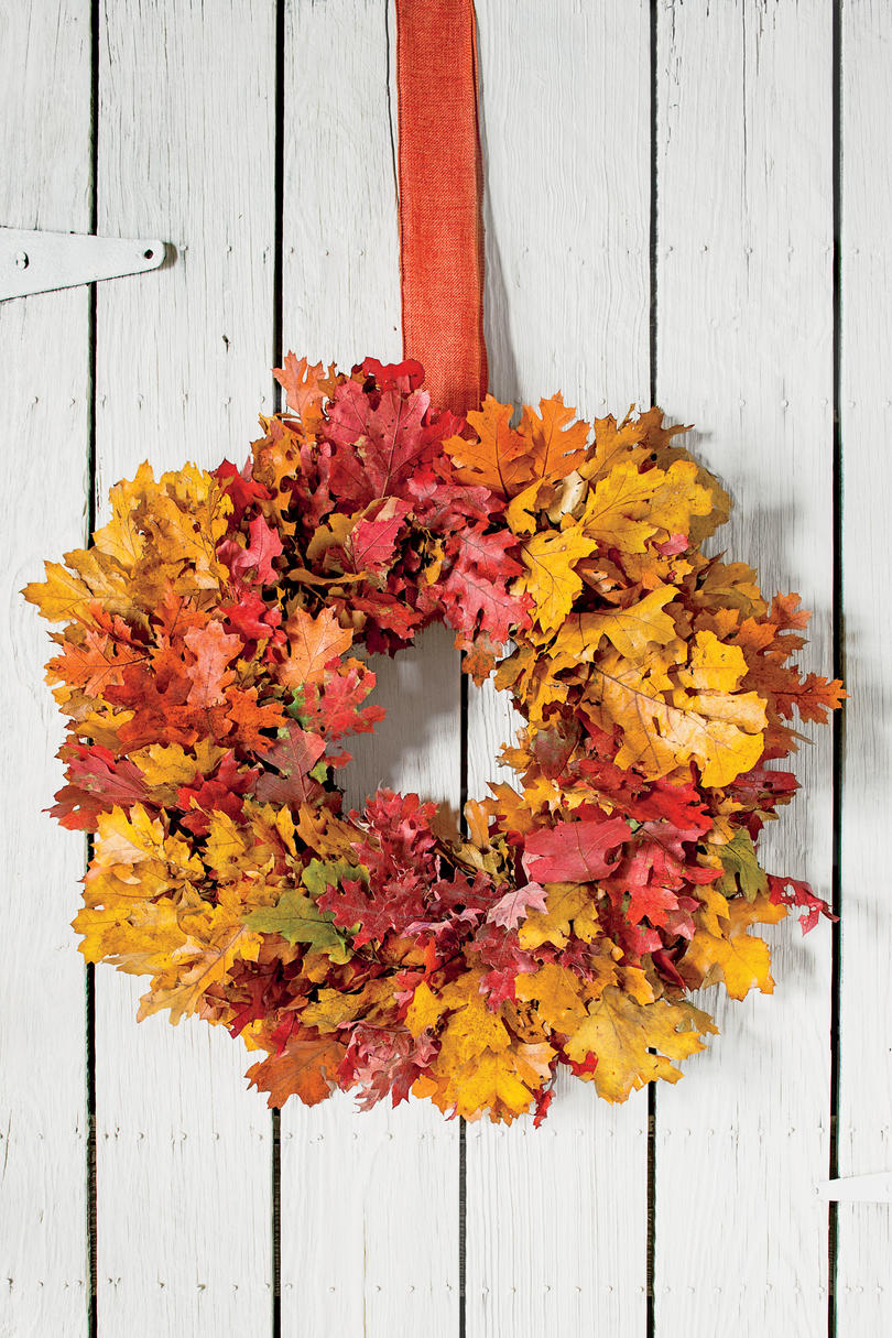 colorful foliage fall wreath - Fall Home Decor