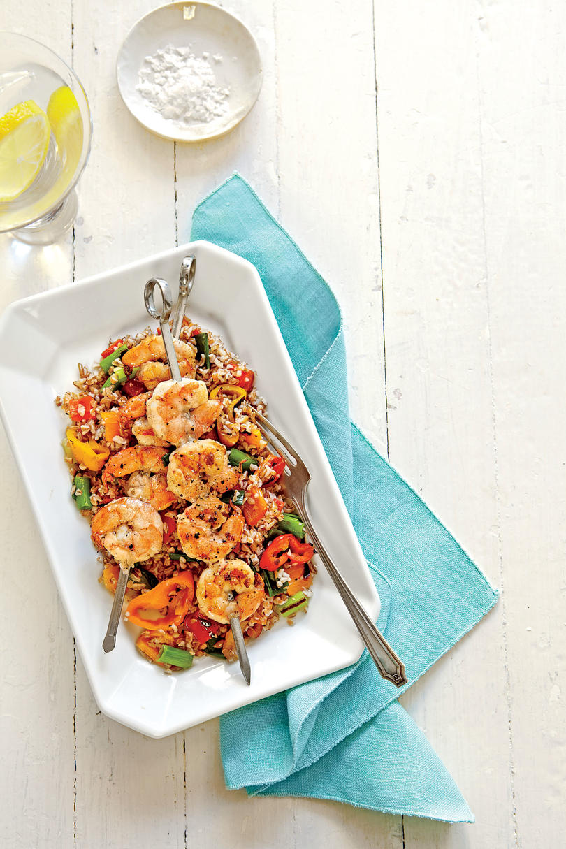 Grain Salad with Grilled Shrimp and Sweet Peppers
