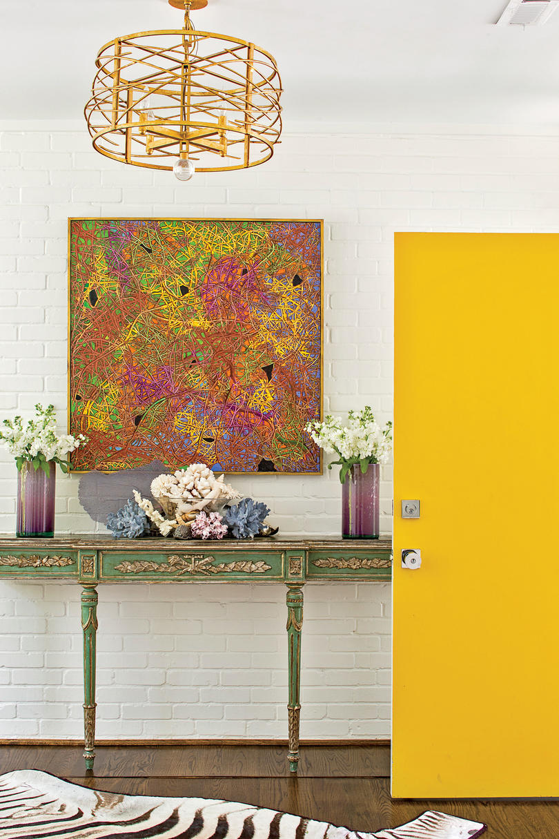 North Carolina Rancher Foyer with Yellow Door