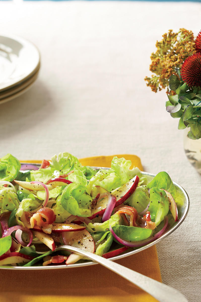 Brussels Sprouts Salad with Hot Bacon Dressing