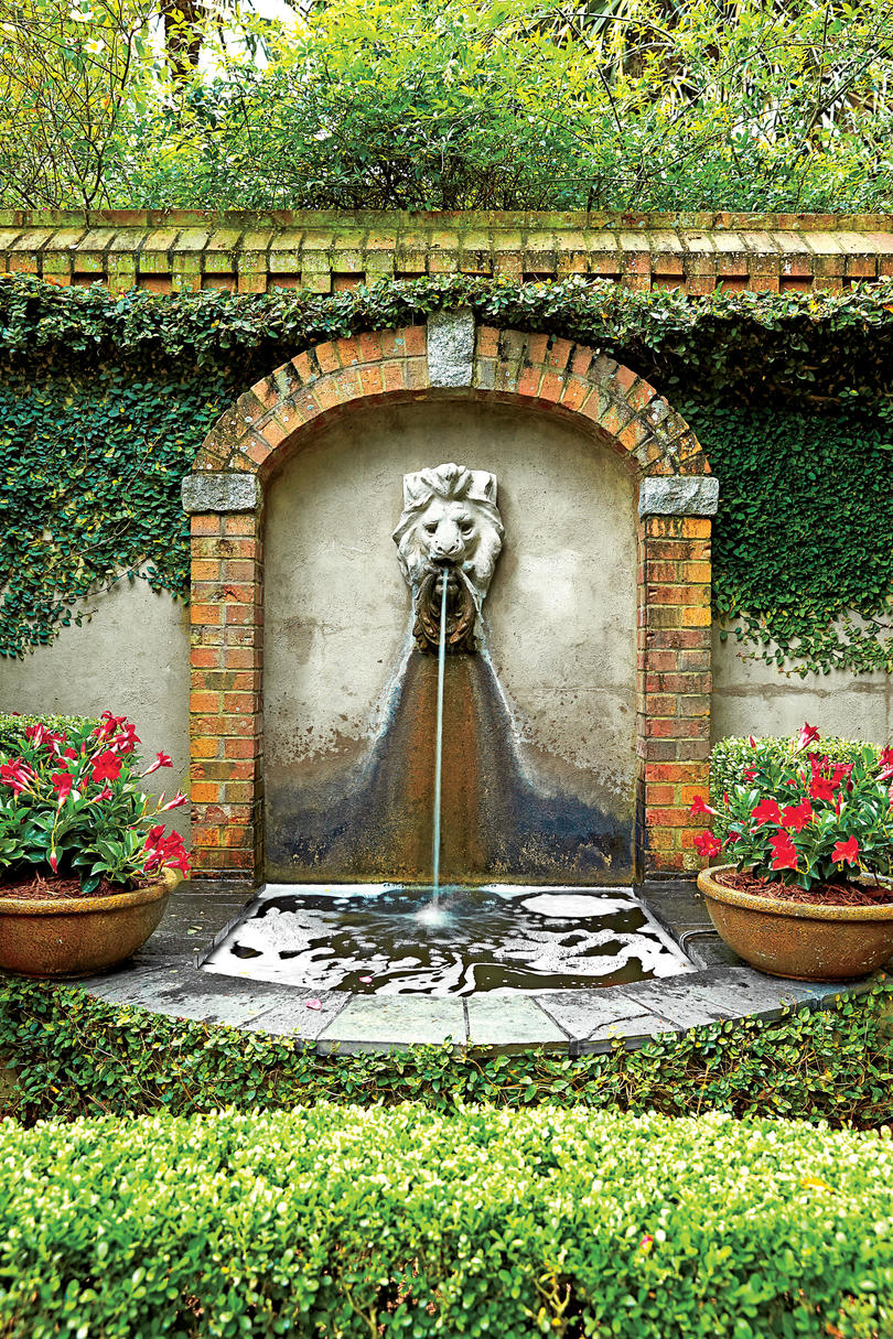 Ornate Fountain with Pond