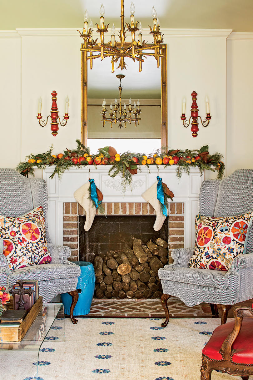Christmas Mantel with Blue Wing Chairs