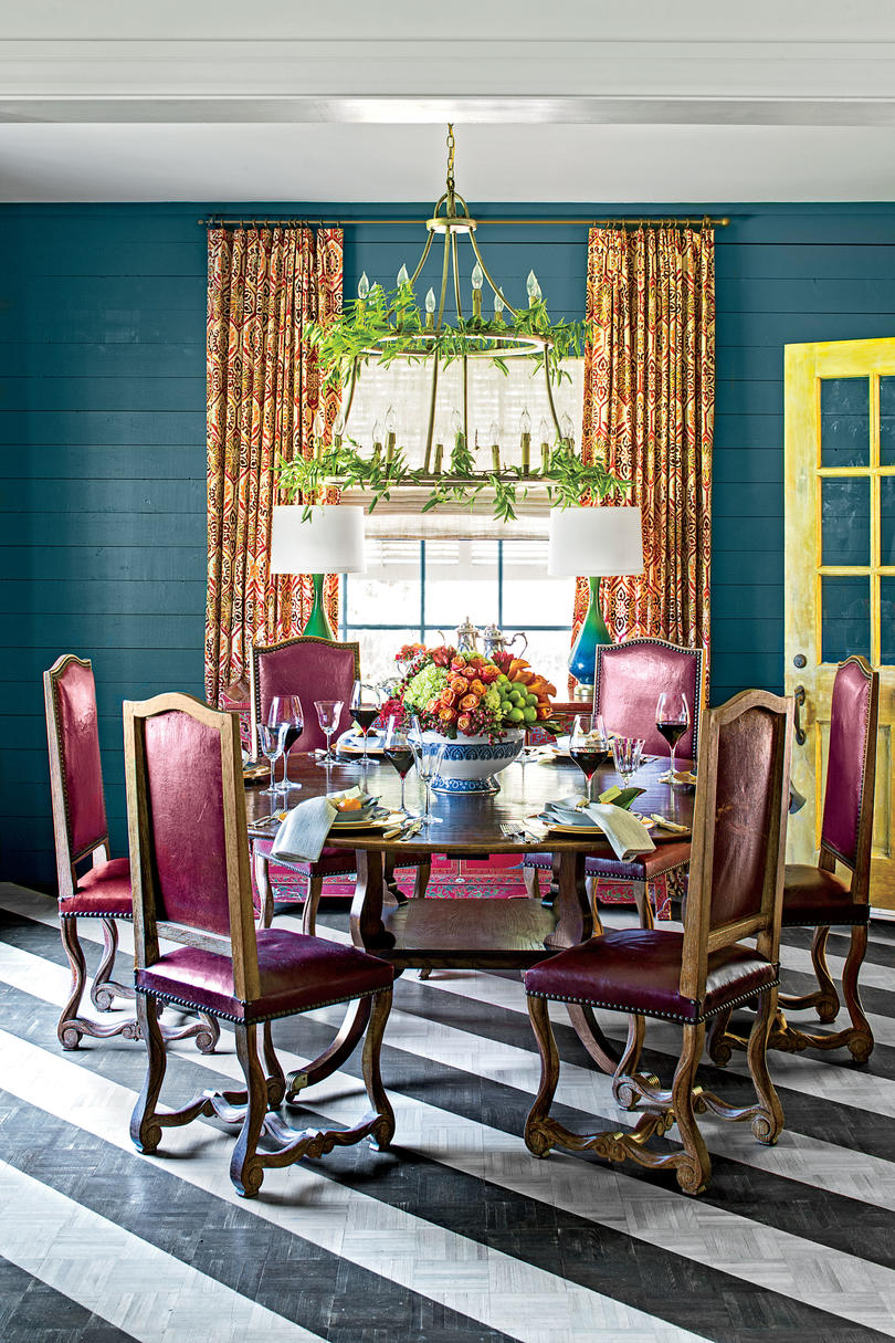 Dining Room Table with Purple Chairs