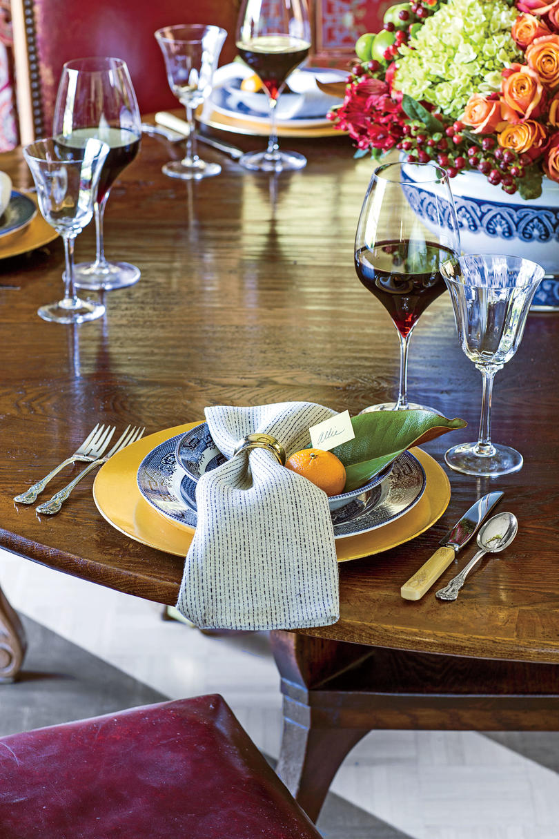 Dining Room Table Setting with Orange Place Card Holder
