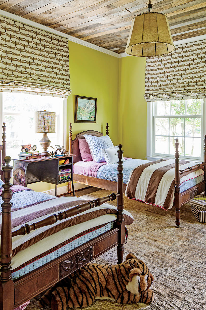 Chartreuse Bedroom with Twin Beds