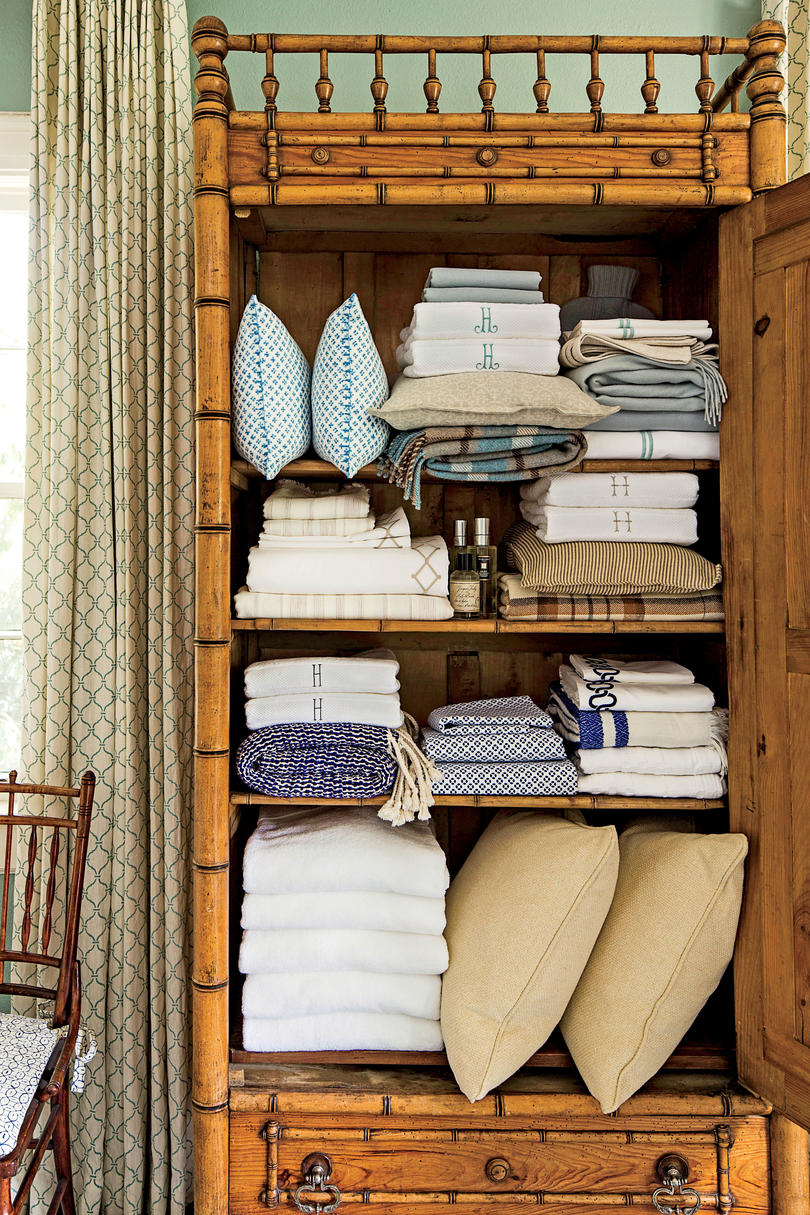Stocked Wooden Linen Cabinet