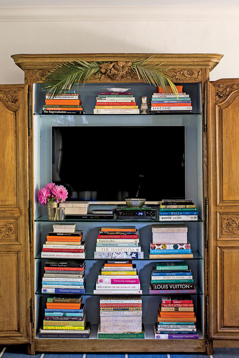 Wooden Armoire with Glass Shelves