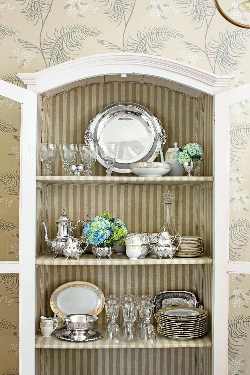 China Cabinet with Striped Fabric