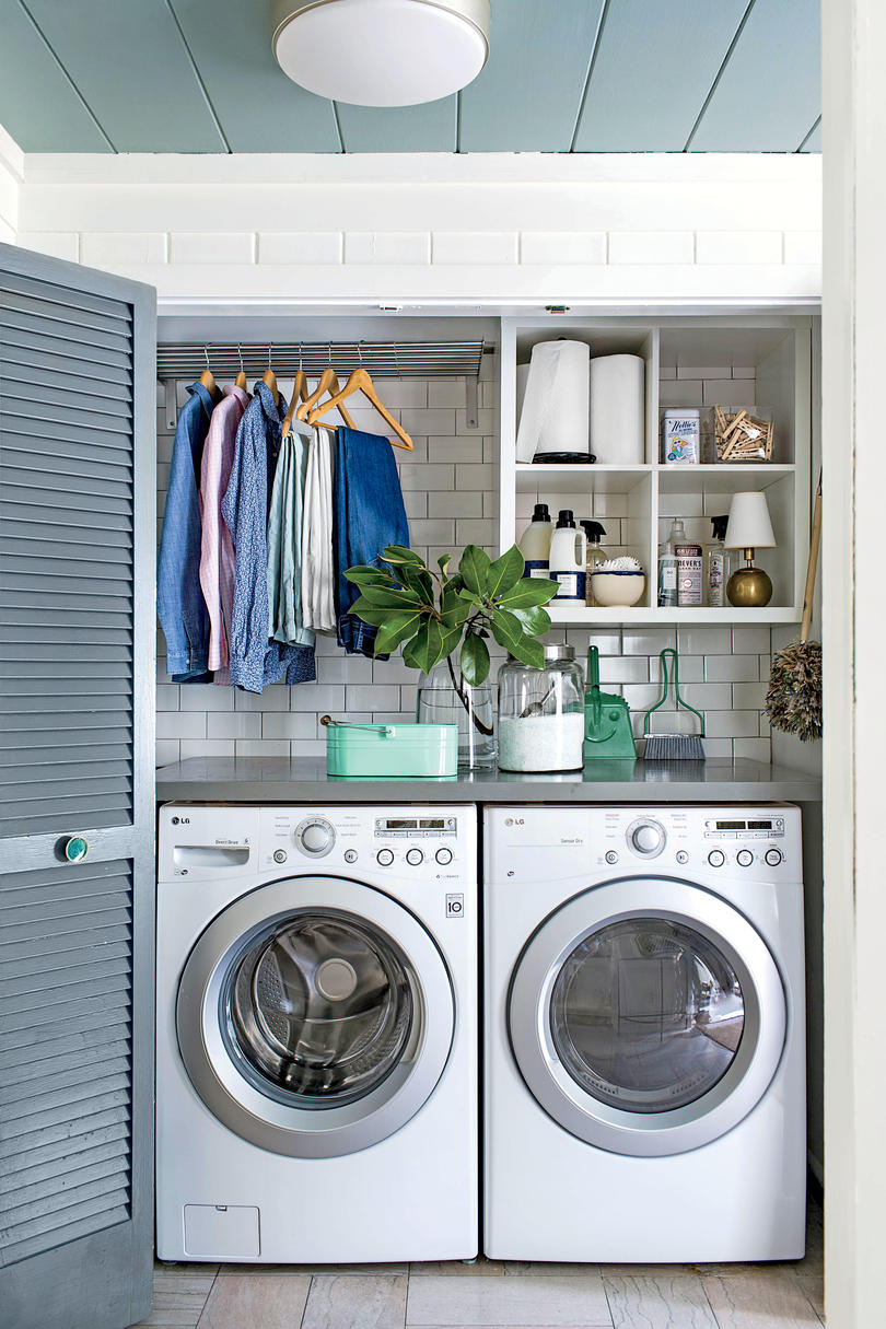 Laundry Room with Blue Doors Small Space