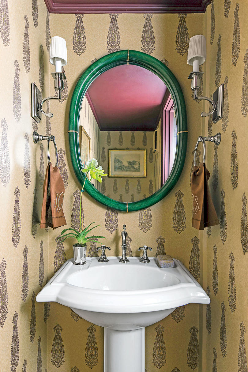 Charleston Loft Powder Room with Wallpaper