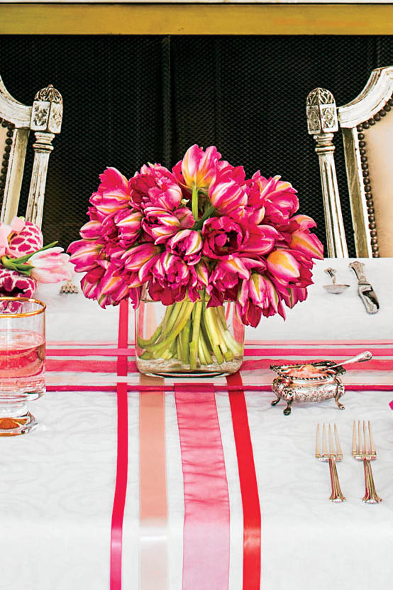 Pink Tulip Easter Table Arrangement