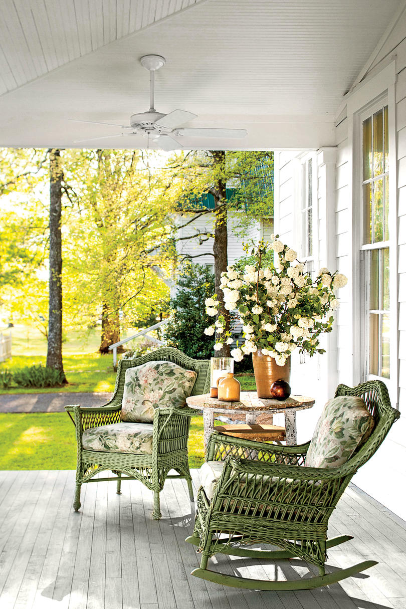 Always Works Front Porch With Green Rocking Chairs
