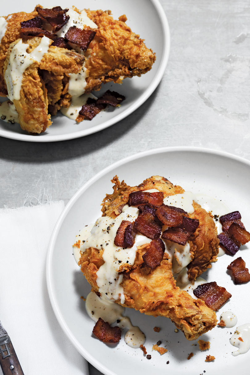 Buttermilk-Soaked, Bacon-Fried Chicken in Gravy