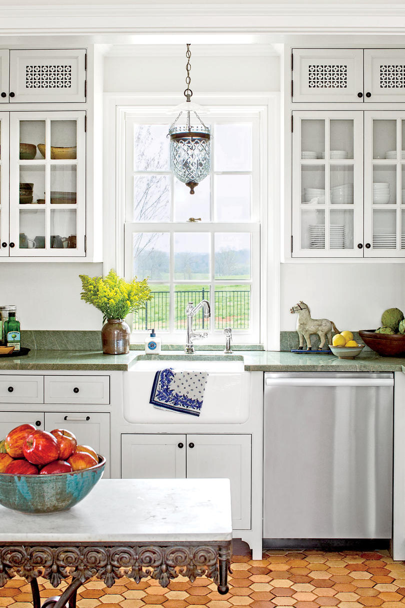 Classic White Cottage Kitchen With Green Countertops