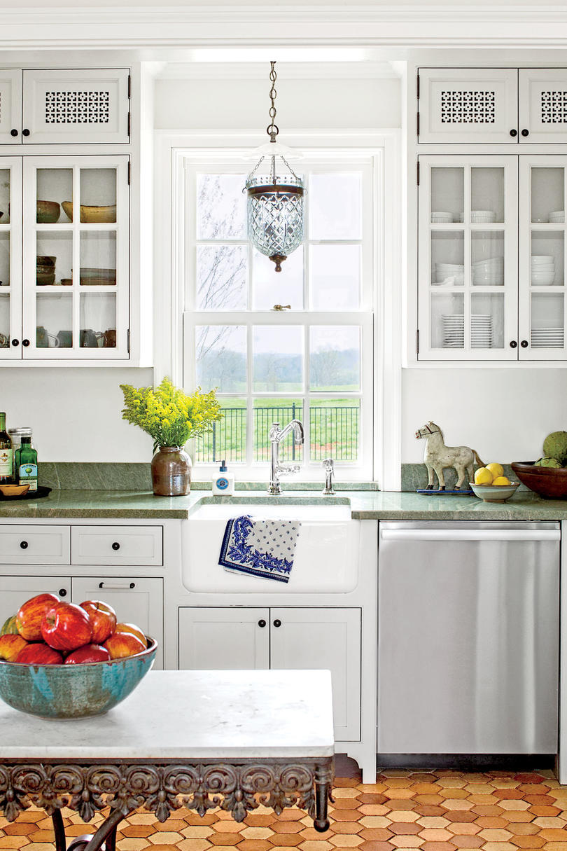 Beautiful Classic White Kitchen With Green Countertops