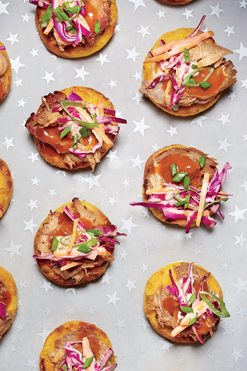 Best party appetizers and recipes southern living petite sweet potato biscuits with pulled pork and slaw forumfinder Gallery