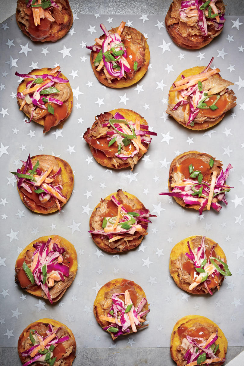 Petite Sweet Potato Biscuits with Pulled Pork and Slaw